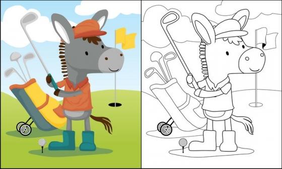 正在打高尔夫球的卡通驴子简笔画图片免抠素材