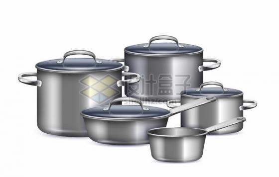 银灰色的不锈钢炖锅水瓢等厨房锅具用品png图片素材