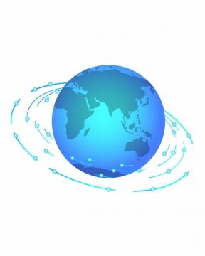蓝色的地球和科技风格线条环绕744775png图片素材
