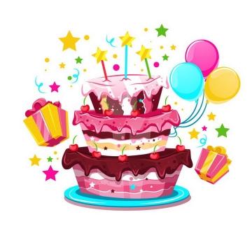 卡通风格彩色生日蛋糕生日礼物和生日气球图片免抠素材