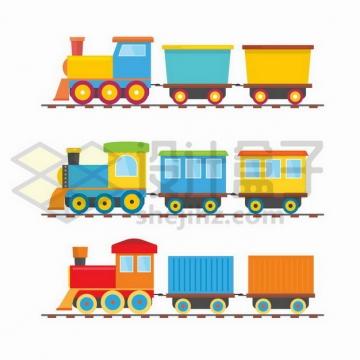 3款彩色卡通火车玩具png图片免抠矢量素材