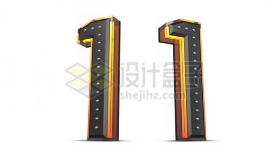 C4D风格黄色黑色3D立体数字一1艺术字体479492psd/png图片素材