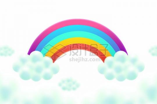 卡通淡蓝色云朵上五彩斑斓的彩虹png图片素材