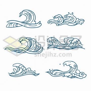 6款蓝色线条海浪波浪图案png图片免抠矢量素材