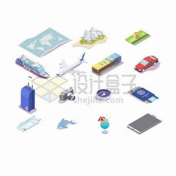 2.5D风格世界地图高山邮轮飞机公交车汽车旅行箱照相机护照等旅游用品png图片素材