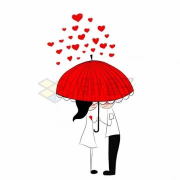 卡通情侣打着红色的雨伞和红色心形爱心雨点情人节png图片素材