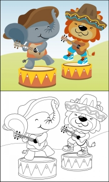 正在弹吉他跳舞的卡通大象和狮子简笔画图片免抠素材