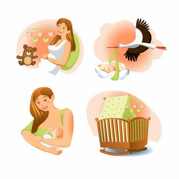 4款卡通风格怀孕生子的年轻妈妈和仙鹤送子的故事png图片免抠素材