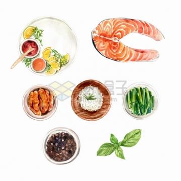 三文鱼肉生姜胡椒葱段等美味美食水彩插画png图片素材