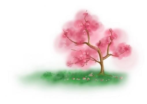 水墨画风格青草地上的桃花树png图片免抠素材