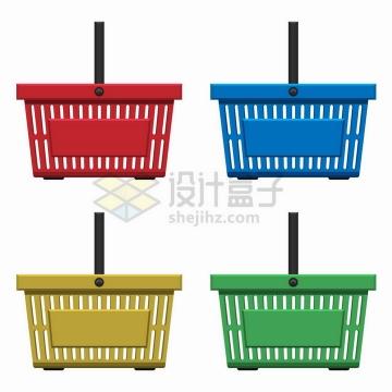 红蓝黄绿四种颜色的超市购物篮侧面图png图片免抠矢量素材