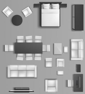 简约灰黑色风格俯视视角家具床铺沙发餐桌等图片免抠素材