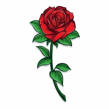 一支带有绿叶的玫瑰花朵png图片免抠矢量素材