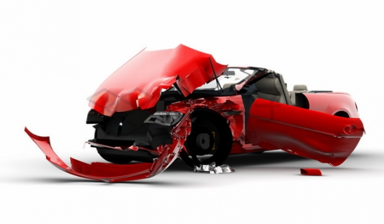 车祸现场警示报废的红色汽车png图片素材