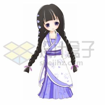 扎两大辫子的Q版卡通汉服美少女png图片免抠素材
