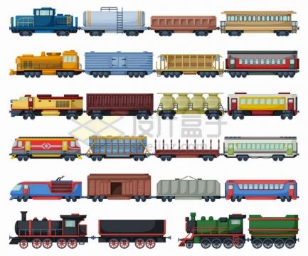 6款火车头列车货运火车侧视图png图片素材