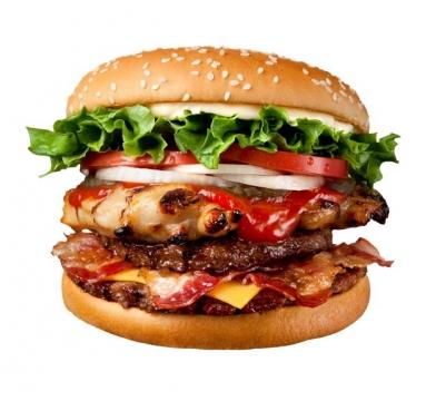牛肉培根卷炸鸡汉堡巨无霸汉堡735907png图片素材