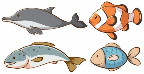 卡通风格海豚小丑鱼等海洋动物png图片免抠矢量素材