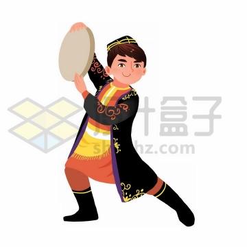用手鼓跳舞的卡通维吾尔族少年传统服饰少数民族png图片免抠素材