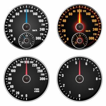 4款汽车仪表盘速度表油表盘png图片免抠矢量素材