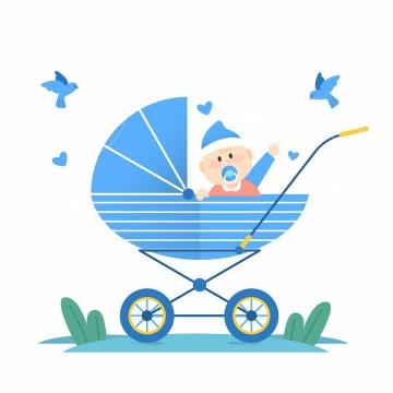 扁平化风格坐在婴儿车中招收的卡通宝宝png图片免抠素材