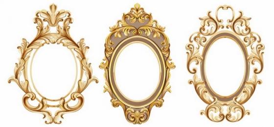 3款金色复古欧式花纹的椭圆形镜子png图片免抠矢量素材