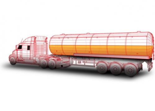 红色线条槽罐车油罐车危险品运输卡车特种运输车蓝图604446png图片素材