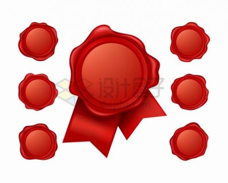 7款红色封蜡火漆封印图案png图片素材