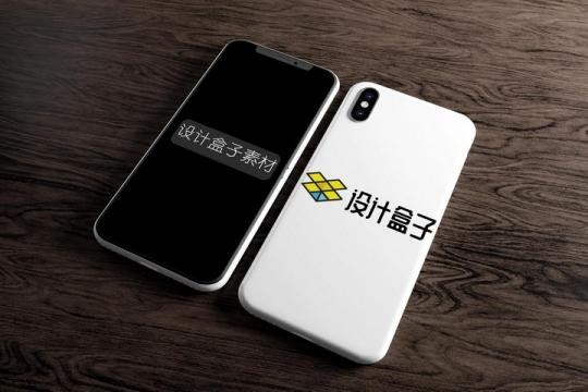白色手机正面屏幕显示和背面手机壳显示样机PSD图片模板