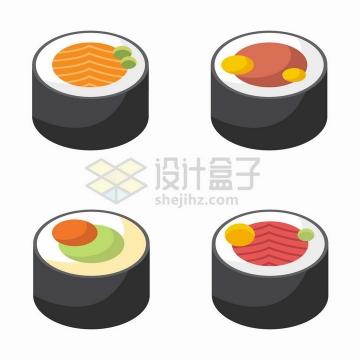4款扁平化风格的日本寿司png图片免抠矢量素材