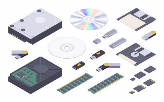 2.5D风格固态硬盘光盘U盘内存软盘SD卡等电脑存储设备png图片免抠矢量素材