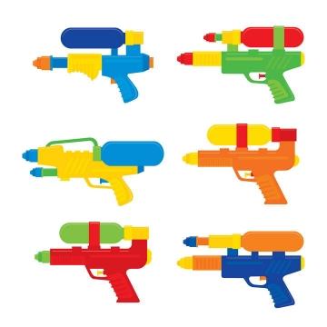 六款彩色水枪玩具枪png图片免抠素材