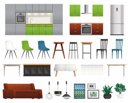 各种集成灶抽油烟机电冰箱椅子餐桌沙发吊灯等厨房家具用品png图片免抠矢量素材