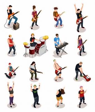 16款弹奏吉他架子鼓电子琴的音乐乐手png图片免抠矢量素材