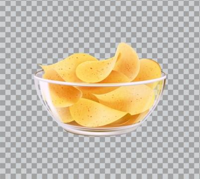 玻璃碗中装满了薯片美味零食图片免抠矢量素材
