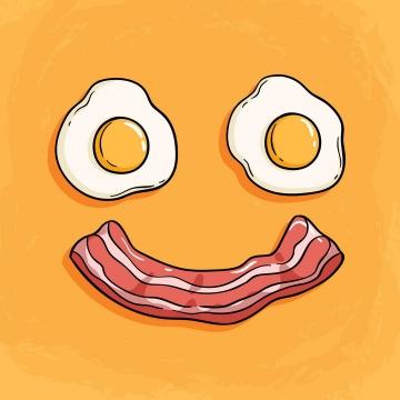卡通风格煎蛋和培根组成的笑脸表情图片免抠矢量素材