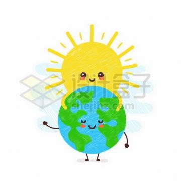 黄色的卡通太阳抱着地球手绘插画326566png矢量图片素材
