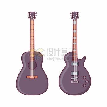 两款电吉他音乐乐器扁平化风格png图片素材