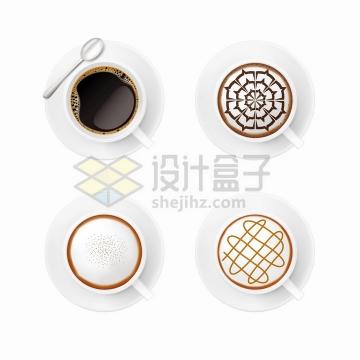 4款俯视视角的漂亮咖啡拉花效果png图片免抠矢量素材