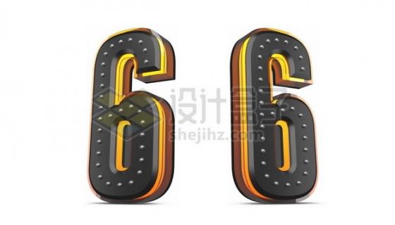C4D风格黄色黑色3D立体数字六6艺术字体157499psd/png图片素材