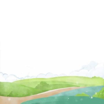 手绘风格春天的绿色大地风景图png图片免抠素材