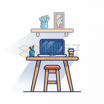 MBE风格木头桌子上的笔记本电脑png图片免抠矢量素材