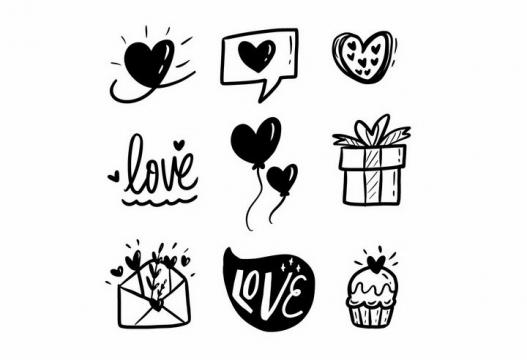 黑色涂鸦风格心形礼物等情人节png图片免抠矢量素材