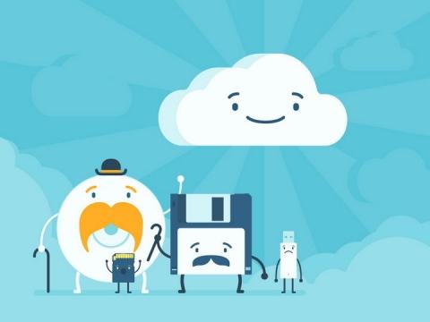 卡通云计算云存储技术和老旧的光盘软盘U盘SD卡等存储技术对比png图片免抠矢量素材