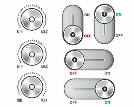各种金属光泽的滑动开关按钮png图片免抠矢量素材