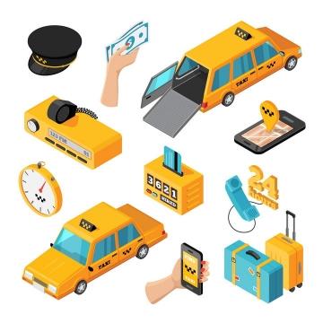 2.5D风格各种出租车服务图片免抠素材