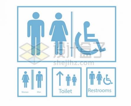 蓝色男厕所女厕所残疾人厕所标志678708图片免抠矢量素材