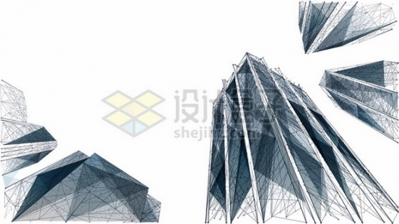 蓝色多边形组成的城市高楼大厦图案460190图片免抠矢量素材