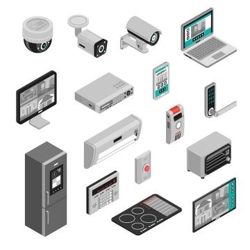 2.5D风格各种摄像头监控安全防盗门密码锁家庭安全设备图片免抠素材
