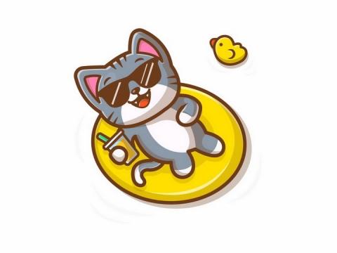躺在游泳圈上喝着饮料的卡通猫咪狸花猫png图片免抠矢量素材